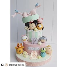 Cake Decorating Disney Recipe 49 New Ideas - Cake Decorating Dıy Ideen Fancy Cakes, Cute Cakes, Fondant Cakes, Cupcake Cakes, Bolo Mickey, Cake Pop Displays, Pink Sweets, Bolo Cake, Tsumtsum