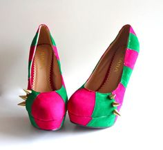 Hot Pink and Lime Green Spike Heels