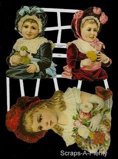 German Victorian Style Embossed Scrap Die Cut - Girls w/Bonnets Children EF7103