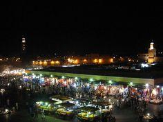 Night panoramic over Marrakech's main square.