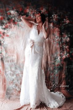 Keyhole Back Lace Wedding Dress with V Neck and Low Back by LAmei $258.39