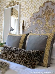 Gorgeous bedroom! Nice mix of patterns and love silver/gray with gold together. Very elegant.~cwm