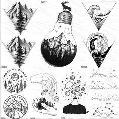 OMMGO Bulb Glass Mountain Pine Tree Temporary Tattoos Sticker Triangle Wave Custom Tattoo Body Art Arm Black Small Fake Tatoos - Linh's Corner - OMMGO Bulb Glass Mountain Pine Tree Temporary Tattoos Sticker Triangle Wave Custom Tattoo Body Art A - Dreieckiges Tattoos, Black Tattoos, Body Art Tattoos, Sleeve Tattoos, Fake Tattoos, Tatoos Men, Tatoo 3d, Ufo Tattoo, Raven Tattoo