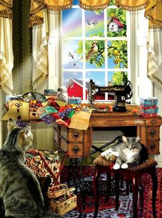 My Sewing Room - Jigsaw Puzzle By Sunsout My Sewing Room, Sewing Art, Sewing Rooms, Antique Sewing Machines, Country Art, Cross Paintings, Retro, Cat Art, Bunt