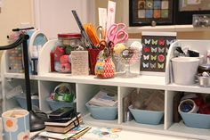Love this little hutch for holding supplies on the desk...