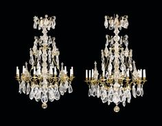 A PAIR OF ORMOLU AND CUT-CRYSTAL SIXTEEN-LIGHT CHANDELIERS | LATE 19TH/20TH CENTURY | Christie's