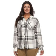 Plus Size Columbia Wildscape Flannel Plaid Roll-Tab Shirt, Women's, Size: 2XL, White Oth