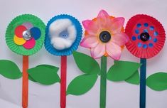 popsicle stick and muffin liner flowers - very cute with all the little details added
