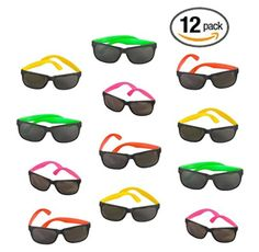 12 Pack 80's Style Neon Party Sunglasses - Fun Gift, Party Favors, Party Toys, Goody Bag Favors - Brought to you by Avarsha.com