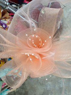 Peach Flower & Netting Fascinator.