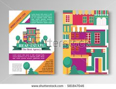 Real estate flat brochure set with house logo, ribbon, trees. Village apartment rental and buying flyer vector illustration.