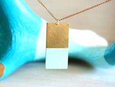 Brass Geometric Rectangle Necklace
