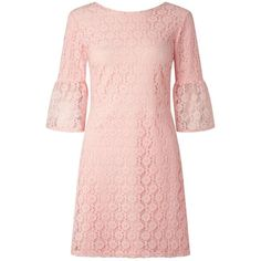 Miss Selfridge Pink Lace Flute Sleeve Dress (380040 PYG) ❤ liked on Polyvore featuring dresses, pink, sleeved dresses, lacy dress, lace sleeve dress, pink day dress and miss selfridge