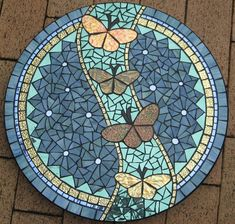 Free mosaic patterns - Gold Leaf Butterflies by Glenys Fentiman Mosaic – Free mosaic patterns Mosaic Stepping Stones, Pebble Mosaic, Mosaic Glass, Mosaic Tiles, Stained Glass, Easy Mosaic, Glass Art, Mosaic Artwork, Mosaic Wall Art