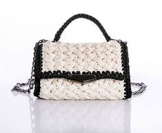 """""""White can represent a successful beginning. In heraldry, white depicts faith and purity"""". Classy flap bag in white with black details 🌟Discover more of our in our eshop (link in bio) Channel Bags, Crochet Purses, Crochet Fashion, Luxury Bags, Handmade Bags, Chanel Boy Bag, Fashion Bags, Crossbody Bag, Shoulder Bag"""
