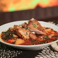 Michael Symon's Braised Turkey Thighs with Spicy Kale