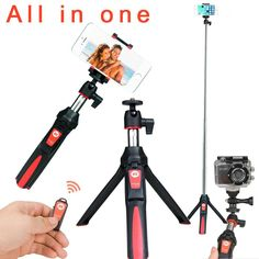 All In One Phone/Go Pro Extendable Selfie Stick/Tripod with Remote Shutter