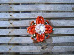Beadwoven saffron flower brooch with Swarovski by ViaKalina