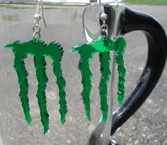 Monster Energy Logo Inspired Earrings by FabricationUnlimited, $10.00