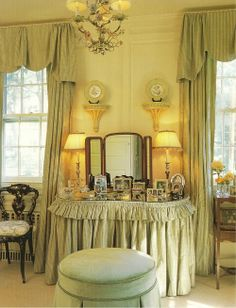 Lightest celadon green skirted vanity and drapes in designer Toni Gallagher's own home. So old school and lovely.