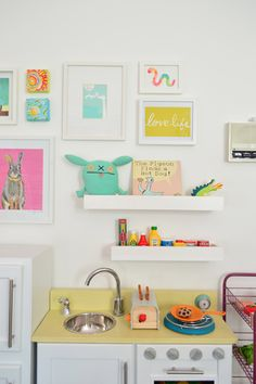 Step Right Up To The Wall O' Fun (NOTE: white shelves to hold knickknacks on gallery wall)