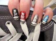Converse Nails - Beautylish All-Star nail designs Do It Yourself Nails, How To Do Nails, Fun Nails, Pretty Nails, Crazy Nails, Converse Nails, Shoe Nails, Converse Style, Converse Sneakers