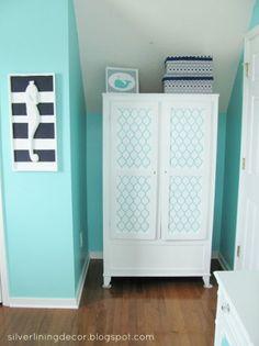 A Casablanca Craft stenciled dresser in a nursery. rQH69#7@R