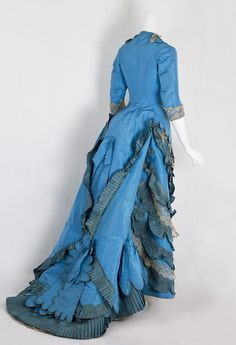 Victorian Clothing at Vintage Textile: Taffeta bustle dress from the Lincoln Hill estate, 1870s