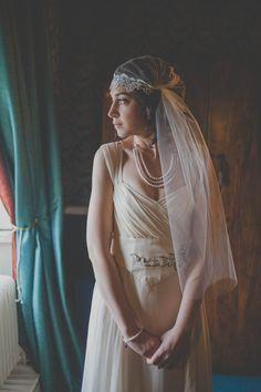 A Charlotte Casadéjus Gown and Juliet Cap Veil For A 1930s Inspired Winter Wedding | Love My Dress® UK Wedding Blog.
