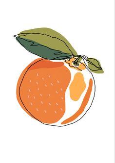 Orange Fruit Continuous Line Drawing Wall Art Printable Art Etsy - Painting Inspiration, Art Inspo, Design Inspiration, Continuous Line Drawing, Art Mural, Minimalist Art, Printable Wall Art, Watercolor Art, Lemon Watercolor