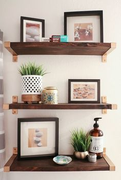 Hack It - Walnut and Gold Shelves. DIY, home decor, guest bathroom, display…