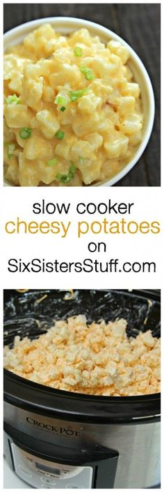 Slow Cooker Cheesy Potatoes only on SixSistersStuff.com