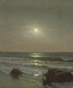 William Trost Richards (American, 1833–1905) - Moonlight (detail), 1878 - Gouache and watercolor on paper
