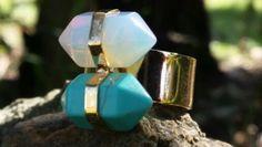 Anillo oro goldgield expandible con doble piedra de opalo y turquesa