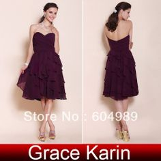 Free Shipping Grace Karin A-line Sweetheart Knee-length Dresses Tiered Chiffon Bridesmaid Dress CL3439