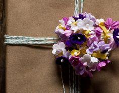 purple mix paper millinery flowers