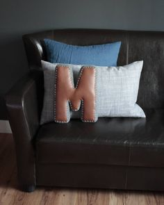 Alphabet Letter Pillow, Crochet Edging & Faux Leather, One Made To Order Accent Pillows, Throw Pillows, House Design Photos, Living Room Inspiration, Letter Pillow, Unique Home Decor, Color Combinations, Nursery Decor, Decorative Pillows