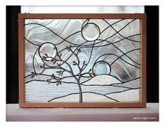 """ZN Stained Glass - """"Wishing Tree"""" stained glass panel with 3D metal tree http://www.facebook.com/pages/ZN-Stained-Glass/41146722975"""