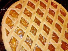 Pasta frola apta para celíacos con dulce de batata y chocolate
