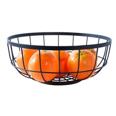 Matt black open grid fruit basket by Present Time. Add an industrial touch to your kitchen with this open grid fruit basket in black matt plated Metal Design, Metal Baskets, Wine Bottle Holders, Gadget Gifts, Seitan, Black Kitchens, Home Collections, Interior Inspiration, Home Accessories