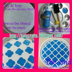 Check out my quatrefoil tray that I stenciled!
