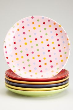 Polka Dot Dessert Plates - Multi - Set of 6 by Yedi Houseware on @HauteLook