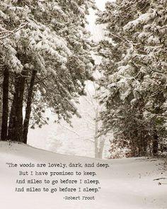 Robert Frost Art Print, Snowy Woods Print, Promises to Keep, Winter Wall Art Print, Quote Wall Art, Literary Art Print, Unframed