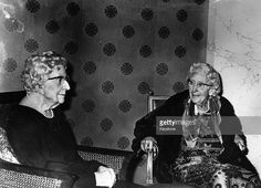 Dame Agatha Christie (1890 - 1976) confronts her wax image in the new grand hall of Madame Tussaud's. The sculptor was Lyn Kramer.