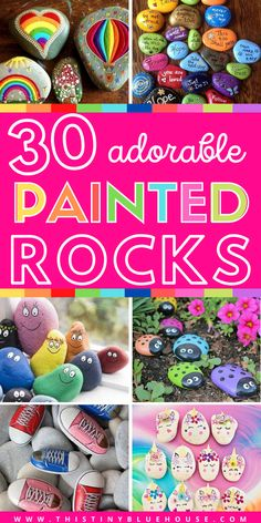 Here are 30 fun painted rock ideas that will provide hours of fun! These creative and unique painted rocks are a perfect family friendly activity. Rock Painting Patterns, Rock Painting Ideas Easy, Rock Painting Designs, Painting For Kids, Painting Art, Paintings, Stone Crafts, Rock Crafts, Crafts To Make