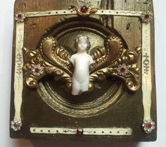Architectural Angel #4 SOLD  Mixed media assemblage on antique architectural element. Artist: Debbie Siday