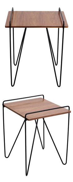 Art class is in session. This contemporary end table eclectically blends modern style and schoolhouse charm with its black hairpin legs and walnut tabletop. The look is clean, minimal, and creative.  Find the Hairpin End Table, as seen in the The Bauhaus Movement Collection at http://dotandbo.com/collections/the-bauhaus-movement?utm_source=pinterest&utm_medium=organic&db_sku=119335