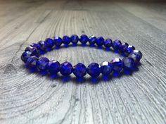 blue glass beads bracelet  made by Lisette Mantel from LC.Pandahall.com
