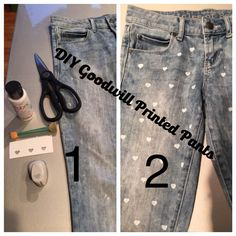 With a pair of jeans from Goodwill, White paint, and a brush, you can recreate this printed pant look