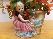vintage Pretty Blonde Girl PLAYING PIANO Planter Vase with flower's RUBENS Japan